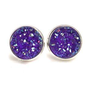 3 for 15🎀 chunky Druzy style purple earrings